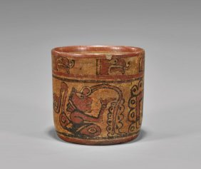 Pre-columbian Mayan Painted Pottery Cup