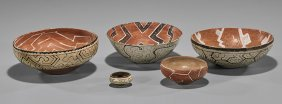 Five Pre-columbian Shipibo Painted Bowls