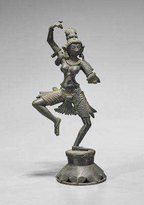 Old Indian Bronze Female Dancer