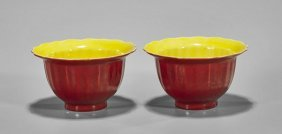 Pair Unusual Ming-style Red & Yellow Cups