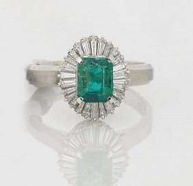 Vintage-style Platinum, Diamond & Emerald Ring