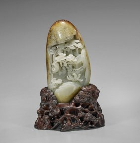 Chinese Carved Celadon Jade Pebble