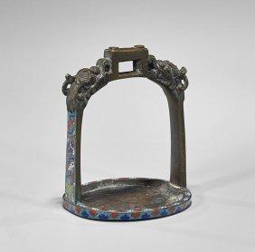 Chinese Cloisonné Enameled Bronze Stirrup