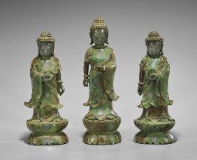 Three Chinese Carved Hardstone Buddhas