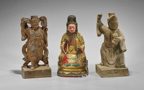 Three Chinese Carved Wood Figures