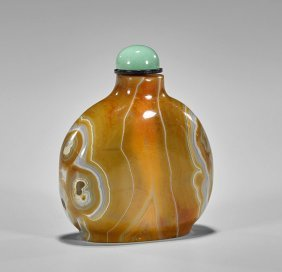 Large Carved Agate Snuff Bottle