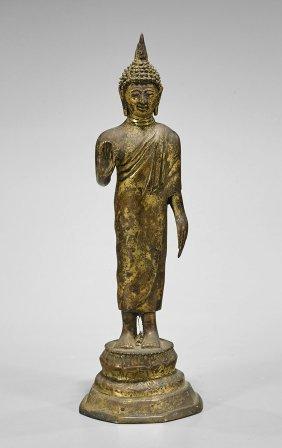 Small Antique Thai Gilt Bronze Buddha