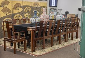 Thai Rosewood Dining Table & Fourteen Chairs