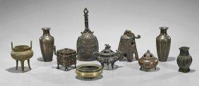 Ten Chinese & Japanese Bronze Items