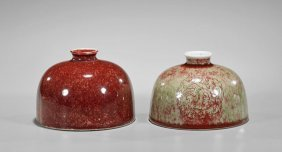 Two Kangxi-style 'peachbloom' Waterdroppers