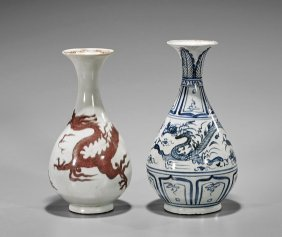 Two Yuan-style Porcelain Dragon Vases