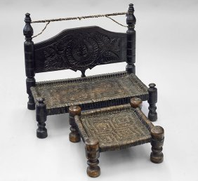 Old Pakistani Low Bench & Footstool
