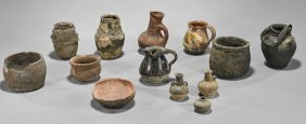 Seventeen Antique Omani Pottery Vessels