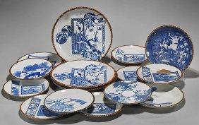 Sixteen Japanese Igezara Blue & White Plates