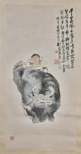 Two Chinese Paper Scrolls: Boy & Buffalo