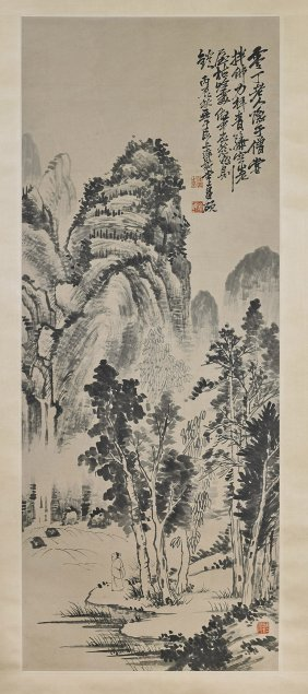 Two Chinese Paper Scrolls: Plum Blossoms & Figure