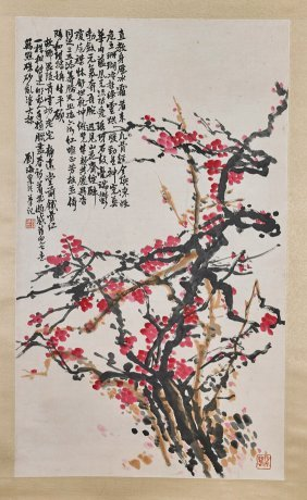 Two Chinese Paper Scrolls: Blossoms & Peaches
