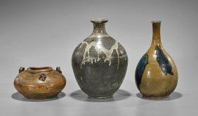 Three Antique Japanese Glazed Vessels
