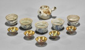 Eleven-piece Group Of Teapot Set & Kutani Sake Cups