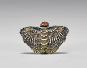 Antique Bisque Porcelain Snuff Bottle: Moth