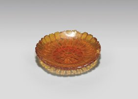 Antique Amber Snuff Saucer