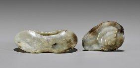 Two Antique Celadon Jade Lotus Carvings