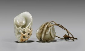 Two Carved Jade Toggles: Lotus Pod & Ruyi