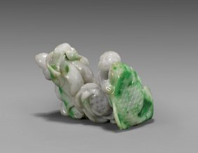 Carved Jadeite Group: Boys & Fish