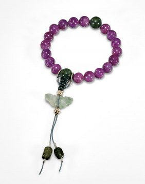 Chinese Ruby, Jade & Tourmaline Bracelet