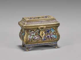 Antique Chinese Enameled Silver Gilt Box