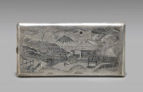 Old Chinese Export Sterling Silver Cigarette Case