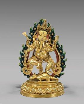 Sino-tibetan Gilt Bronze Ganesha