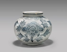 Antique Korean Blue & White Jar