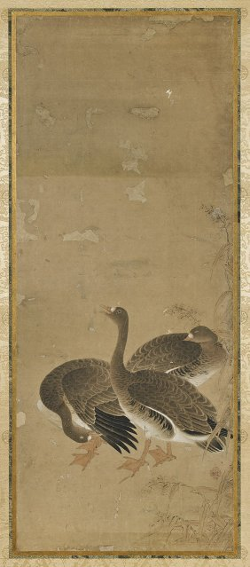 Four Antique Japanese Paintings: Fowl