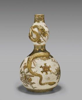 Antique Kinkozan Satsuma Dragon Vase