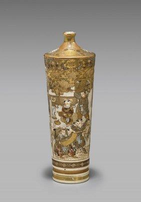 Tall Antique Satsuma Vase