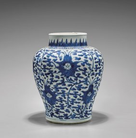 Transitional/kangxi Period Blue & White Jar