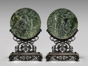 Pair Carved Spinach Jade Plaques