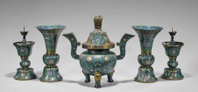 Antique Five-piece CloisonnÉ Garniture Set