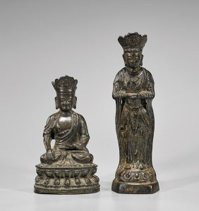 Two Small Ming Bronze Figures Of Buddha