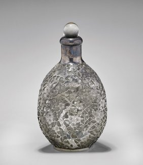 Antique Export Silver & Glass Bottle