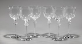 Six Lalique Crystal Wine Glasses