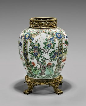 Antique Ormolu Mounted Porcelain Jar