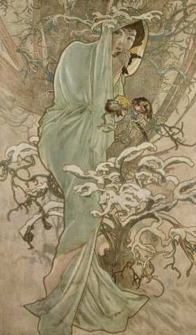 The Four Seasons Lithographs By Alphonse Mucha