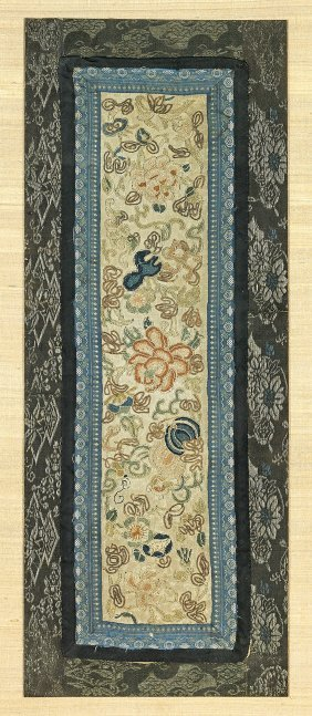 Two Antique Silk Embroidered Panels