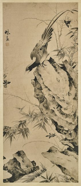 Chinese Ink & Color Paper Scroll