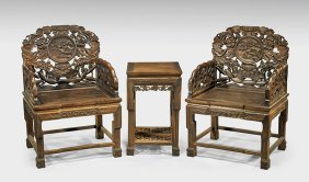 Set Chinese Carved Wood Chairs & Table