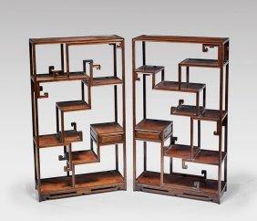 Pair Hardwood Display Cabinets