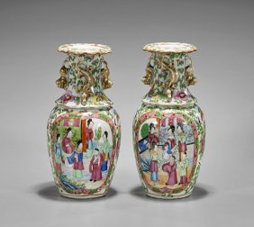 Pair Antique Chinese Export Famille Rose Vases