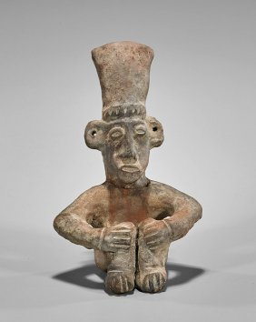 Pre-columbian Pottery Seated Man